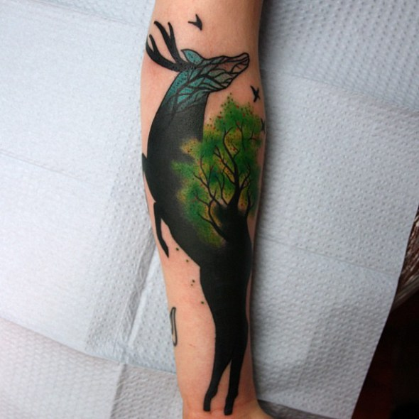 deer and tree tattoo by jimmy duvall