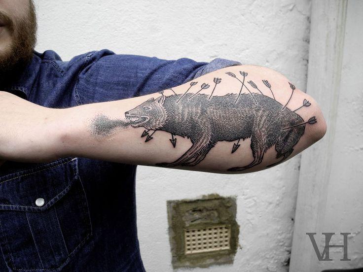 dying animal tattoo by valentin hirsch