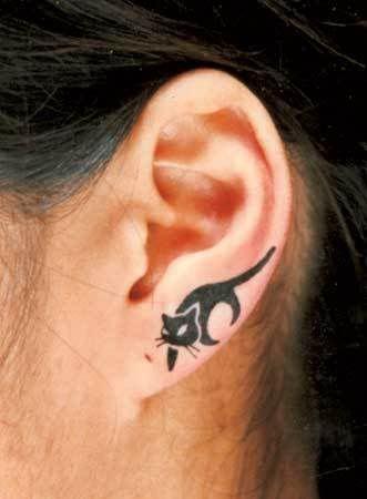 ear tattoo black cat