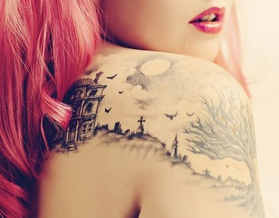 fairytale tattoo city with flying bats