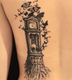 fairytale tattoo clock and butterflies