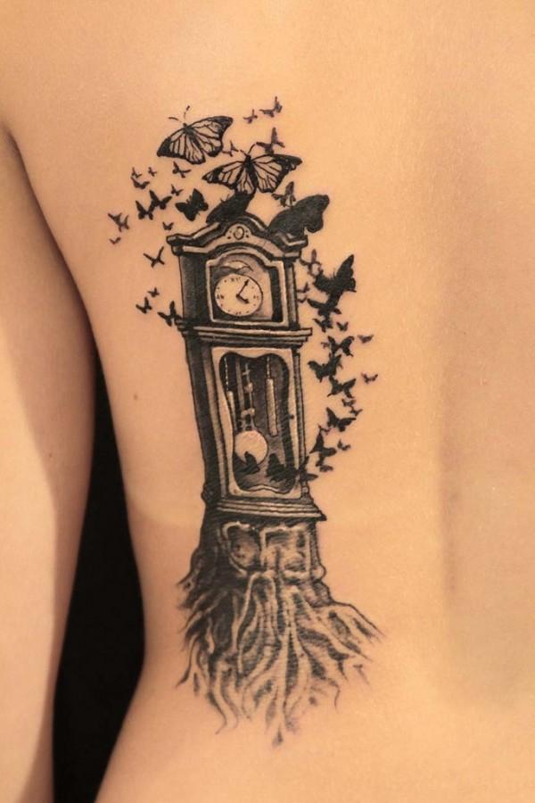 fairytale tattoo clock and butterflies