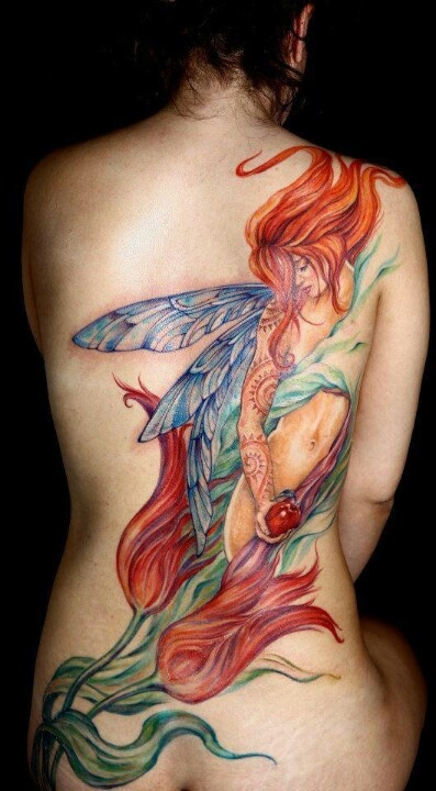 fairytale tattoo red haired fairy