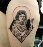female jesus tattoo by valentin hirsch