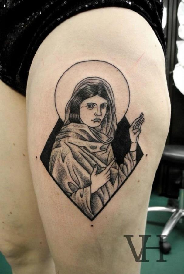 female jesus tattoo by valentin hirsch