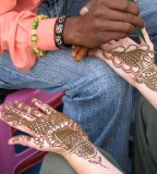 henna application on hand in process