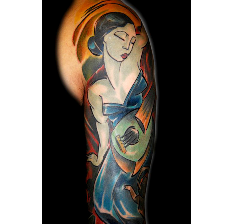lady with instrument tattoo by bugs