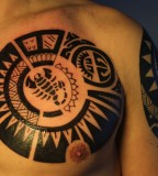 maori scorpio tattoo on chest