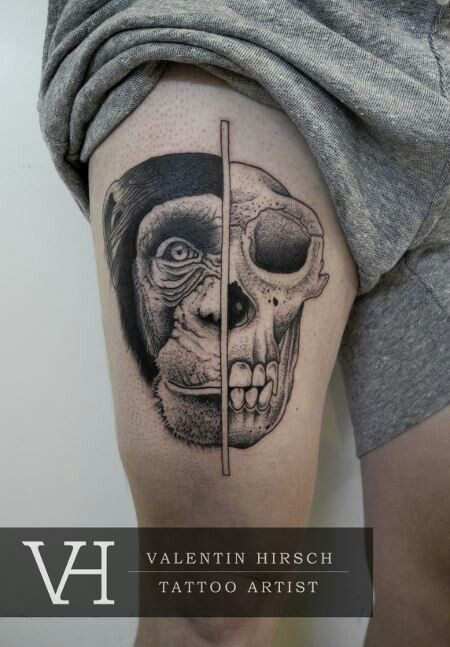 monkey human skull tattoo by valentin hirsch