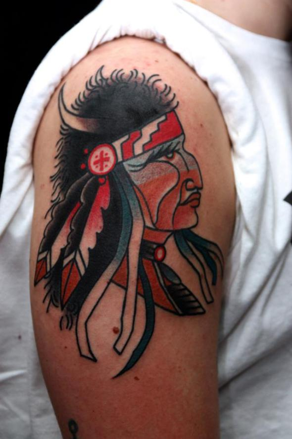 native american tattoo by jimmy duvall