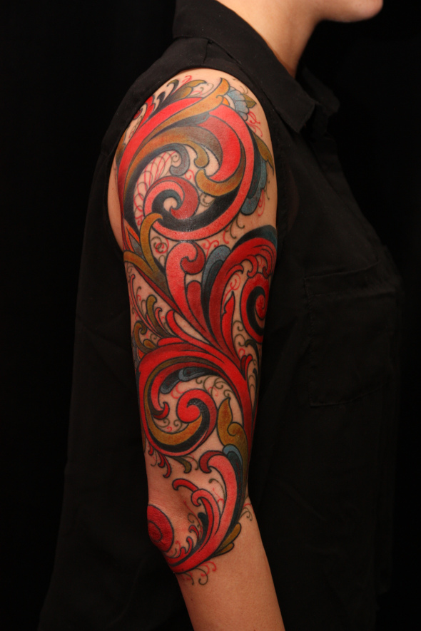 norvegian rose paint tattoo by jimmy duvall