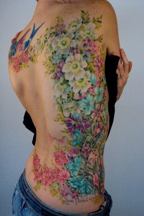 pastel back tattoo flowers