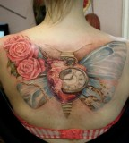 pastel back tattoo vintage butterfly