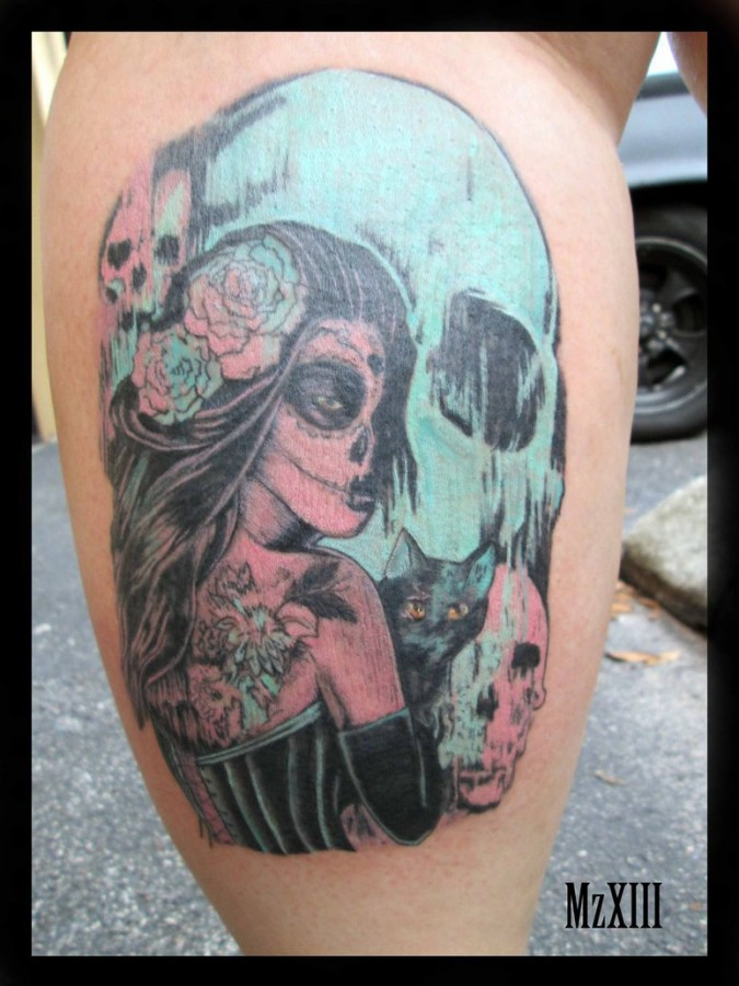 pastel day of the dead tattoo