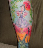 pastel haunted mansion stretching portrait tattoo