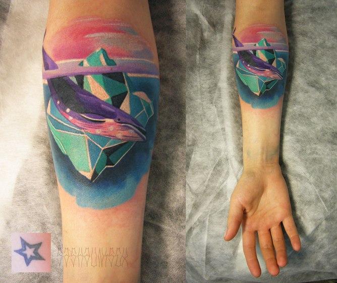 pastel ocean tattoo whale iceberg