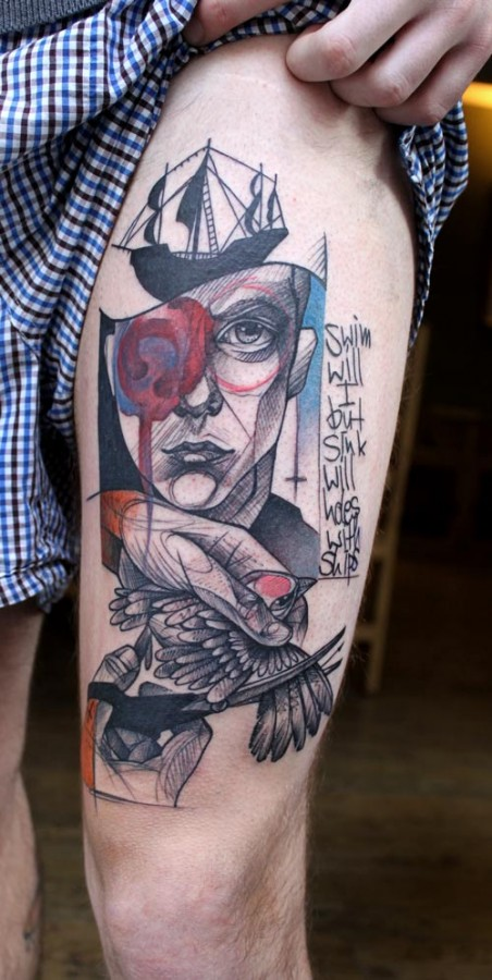 peter aurich tattoo portray with ship cutting birds wing