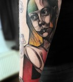 peter aurisch tattoo geometric girl on arm