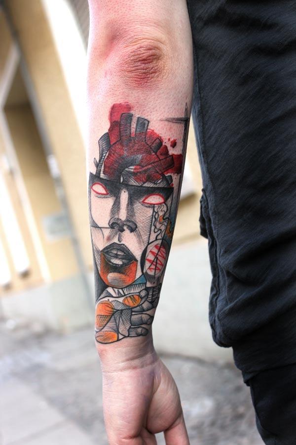 peter aurisch tattoo girl face heart in head