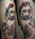 peter aurisch tattoo man with moustache