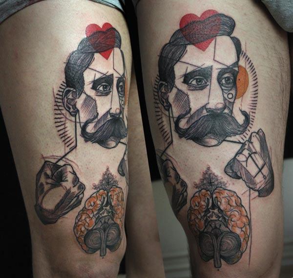 peter aurisch tattoo man with moustache