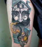 peter aurisch tattoo man with pipe
