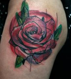 peter aurisch tattoo red geometric rose
