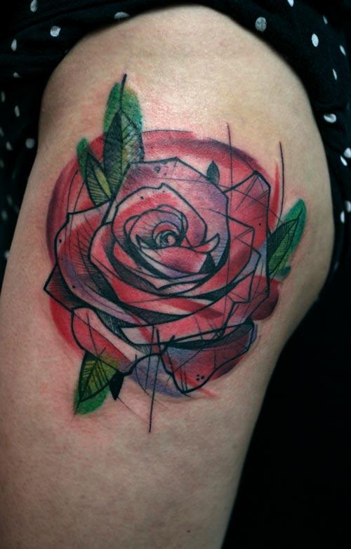 peter aurisch tattoo red geometric rose