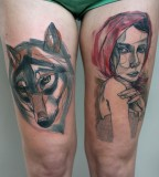 peter aurisch tattoo wolf and woman leg tattoo