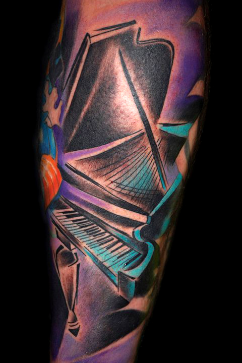 piano tattoo by bugs