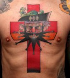 pirate cross tattoo by jimmy duvall