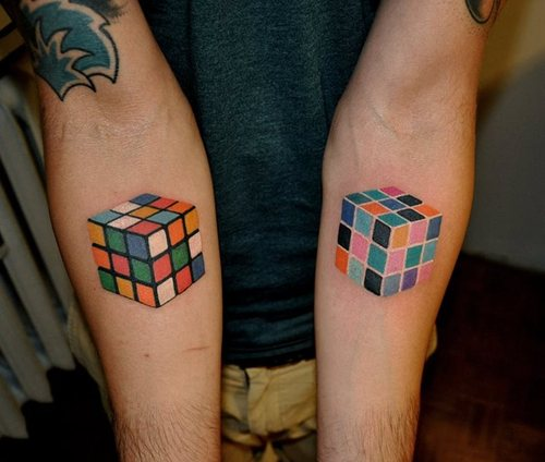 puzzle tattoo electric rubik cube