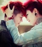 red haired couple tattoo