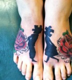 roses and puzzle people tattoo