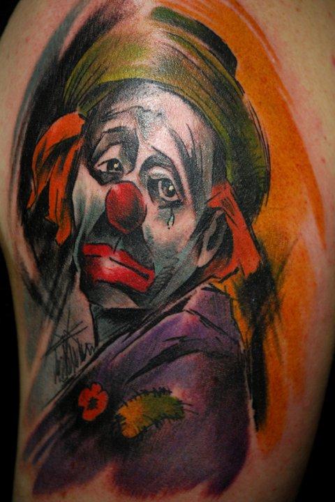 sad clown tattoo by bugs