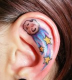 sky star tattoo inside ear