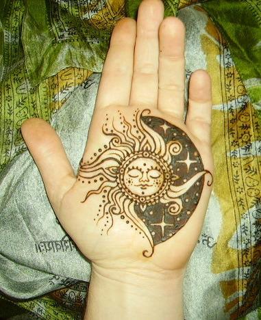 sun and moon on hand
