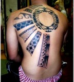 sun tattoo design full back tattoo blue