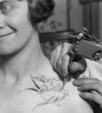 tattoo in process vintage woman