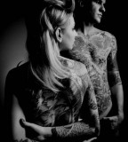tattooed couple black and white photography
