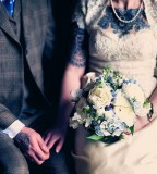 tattooed couple retro wedding