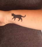 walking cat tattoo on arm