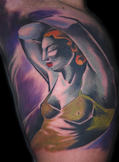 woman tattoo by bugs