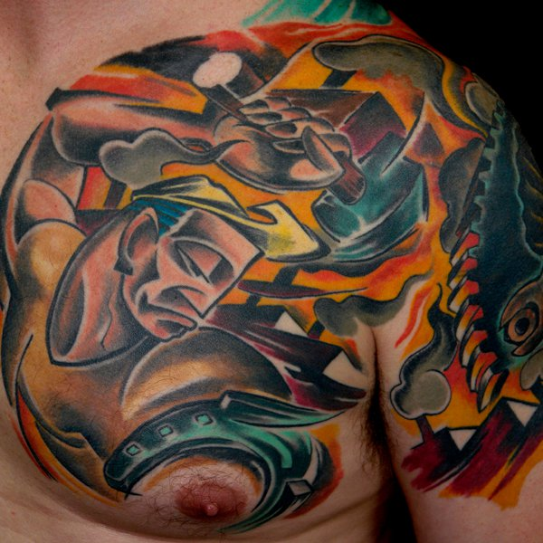 Half chest tattoo drawing images for Working man tattoo
