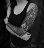 arm sleeve tattoo for girl by guy le tattooer