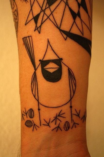bird tattoo blackwork inspired by charley harper