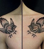 birds chest tattoo by luca font