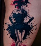 black and red cabaret dancer tattoo