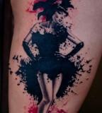 black and red cabaret dancer tattoo