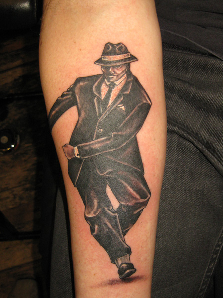black and white tap dancer tattoo